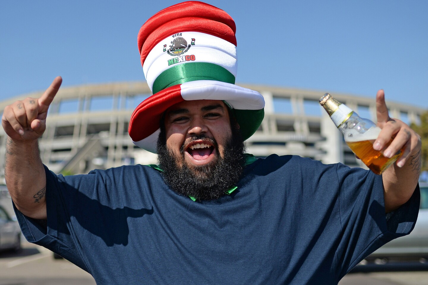 Jun 1, 2016; San Diego, CA, USA; A Mexico fan cheers before the game against Chile at Qualcomm Stadium. Mandatory Credit: Jake Roth-USA TODAY Sports ** Usable by SD ONLY **