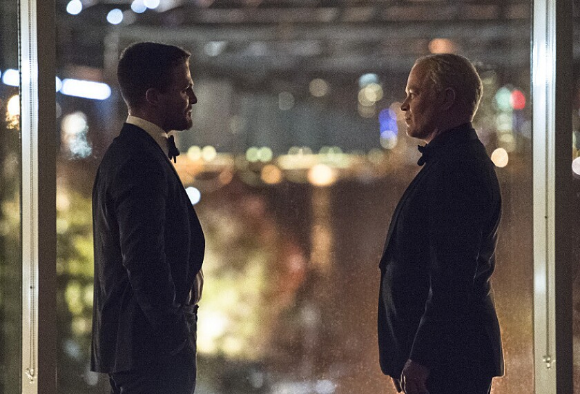 """Damien Darhk meets Oliver Queen for the first time, as H.I.V.E.'s plans become suddenly personal to several members of Team Arrow in """"Brotherhood."""""""