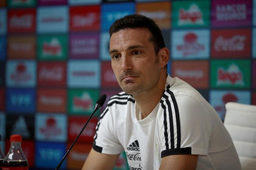 The caretaker coach of Argentina's national soccer team, Lionel Scaloni, gives a press conference on Nov. 15, 2018, in Buenos Aires, Argentina. EPA-EFE/Juan Ignacio Roncoroni