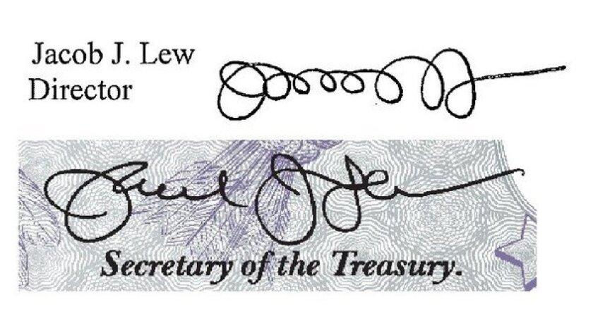 Treasury Secretary Jacob J. Lew's signature
