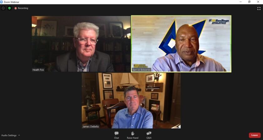 Clockwise from top left, La Jolla Historical Society Executive Director Heath Fox, Earl Edwards and Jim DeBello