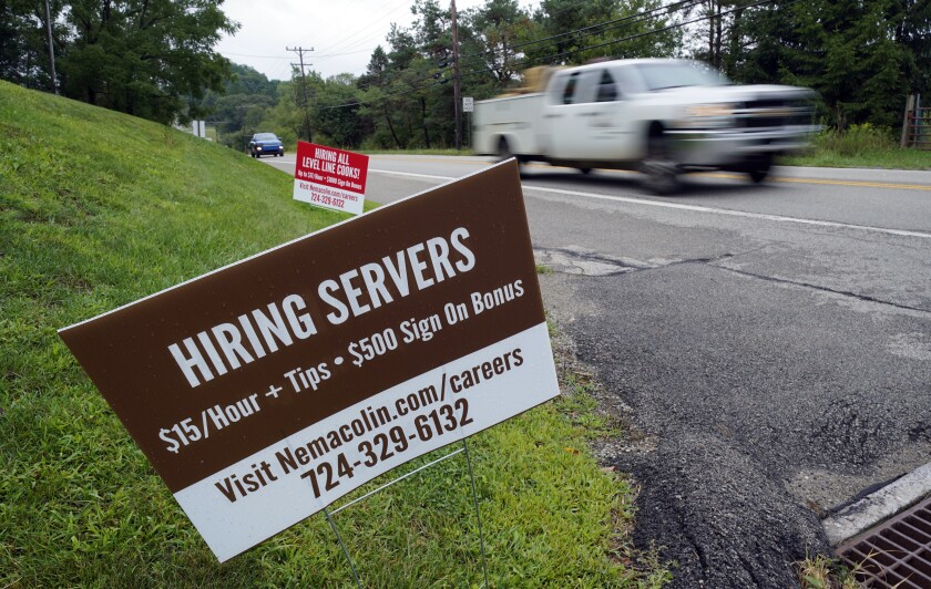 """Help wanted"" signs for servers and cooks in Farmington, Pa."