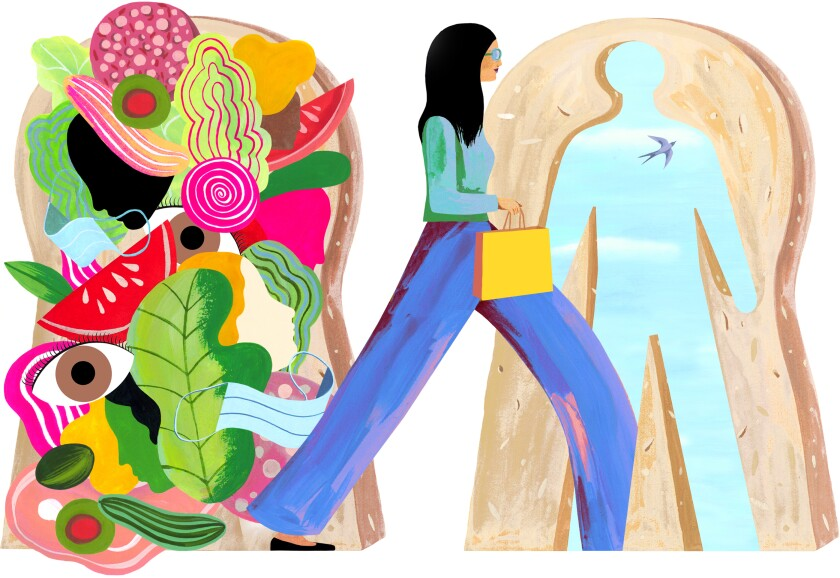 A woman striding past a psychedelic-looking sandwich and into a slice of bread with the silhouette of a man cut out of it.