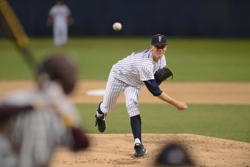 Junior right-hander Thomas Eshelman (Carlsbad High) is the ace of Cal State Fullerton's staff.