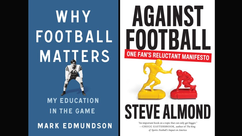 """The covers of the books, """"Why Football Matters"""" and """"Against Football."""""""