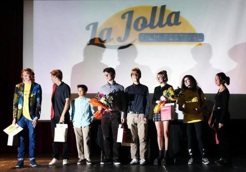 La Jolla Film Festival, held June 2 at La Jolla High, was a night of flicks   from student filmmakers Nathan Hacker, Max Leonard, Merritt Eastman-Pinto, William Dorst,   Nathan Na, Una Smoole (and her microphone/lights operator Angela Batacovick) and Wesley   Preis. Not pictured: Amaya Bishop