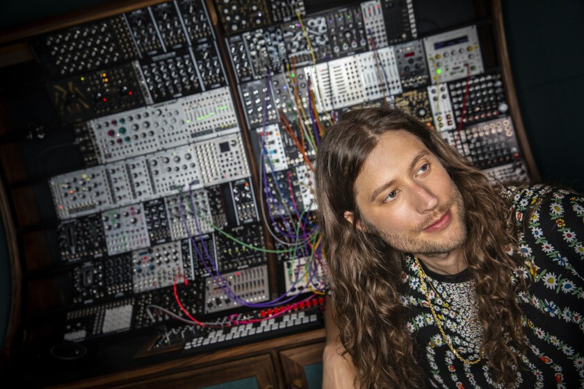 Composer Ludwig Göransson in his recording studio in Glendale.