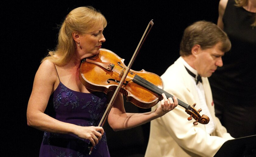 Cynthia Phelps and John Novacekperform the Marchenbilder for viola and piano during the SummerFest Schumann concert in La Jolla.