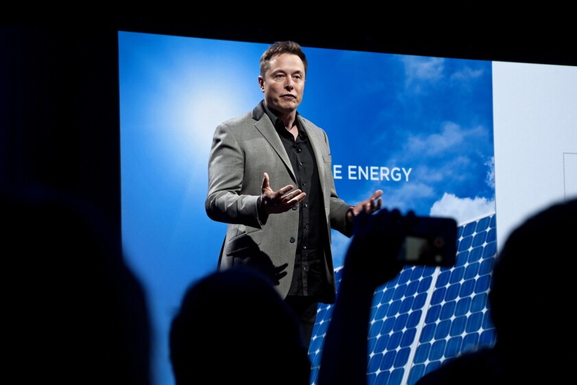Elon Musk introduces a new line of residential and commercial batteries in April at Tesla's design studio in Hawthorne.