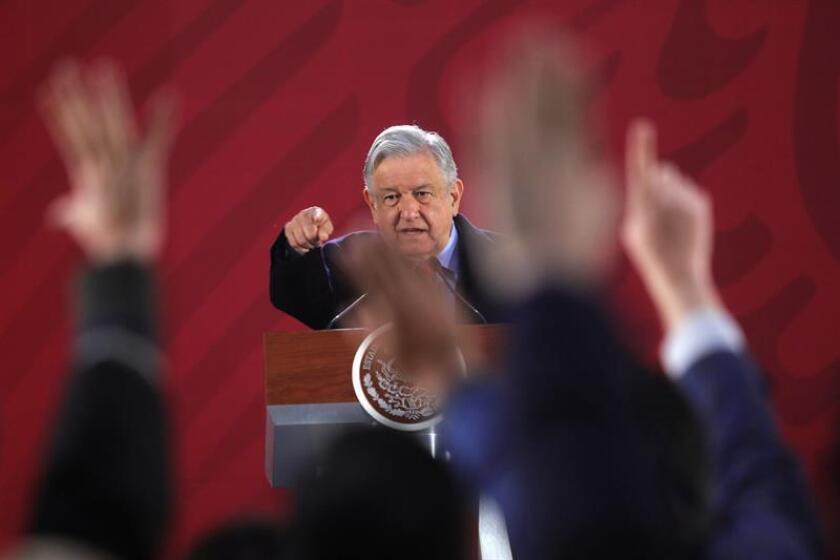 El presidente de México, Andrés Manuel López Obrador durante su rueda de prensa matutina, en el Palacio Nacional, en Ciudad de México (México). EFE