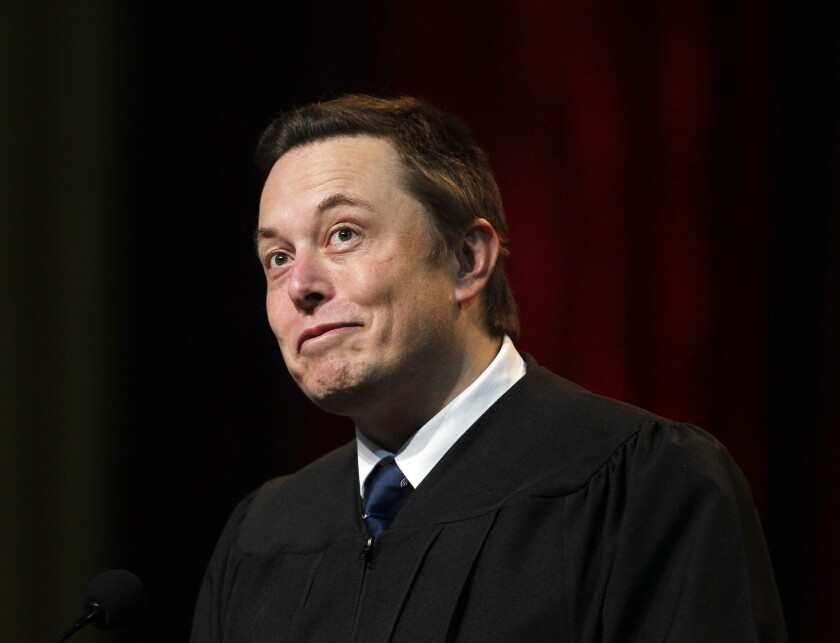 Tesla and SpaceX founder Elon Musk gave the 2014 commencement address at USC's Marshall School of Business at the Galen Center.