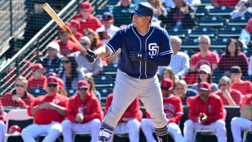 Padres first baseman Josh Naylor bats in the second inning Sunday against the Los Angeles Angels.