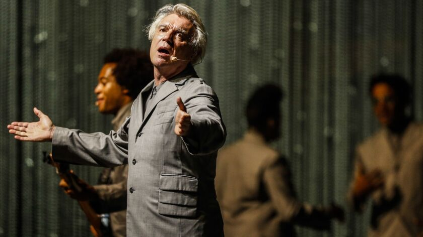 David Byrne in concert at the Shrine Auditorium in Los Angeles.