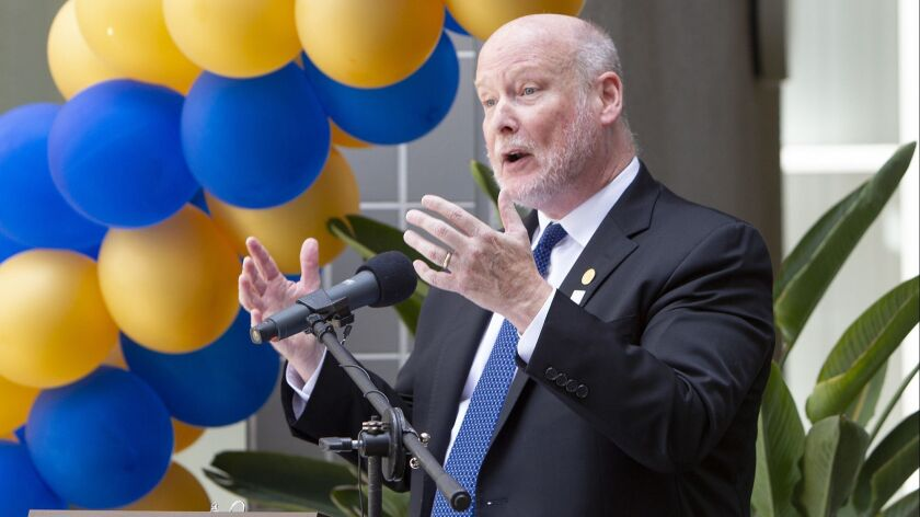 UC Irvine School of Law chancellor Howard Gillman speaks during a celebration for the law school's 1