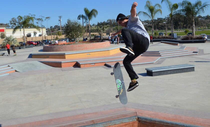A skateboarder last week makes good use of the new community skatepark. Skateboarders have long pushed for the park.