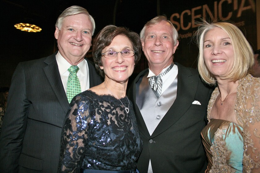 """Ascencia VIPs at the Gala """"All Aboard"""" are, from left, Bruce Hinckley, wife and Gala Chairperson Debbie Hinckley, Board President Chip Stone with wife Nancy Stone."""