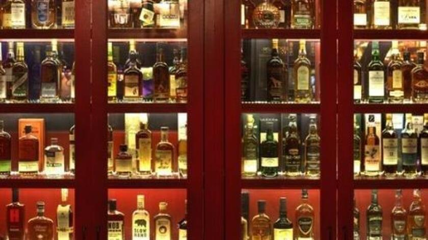 The great wall of Scotch at Tan O'Shanter Inn in Los Feliz, one of L.A.'s oldest restaurants.