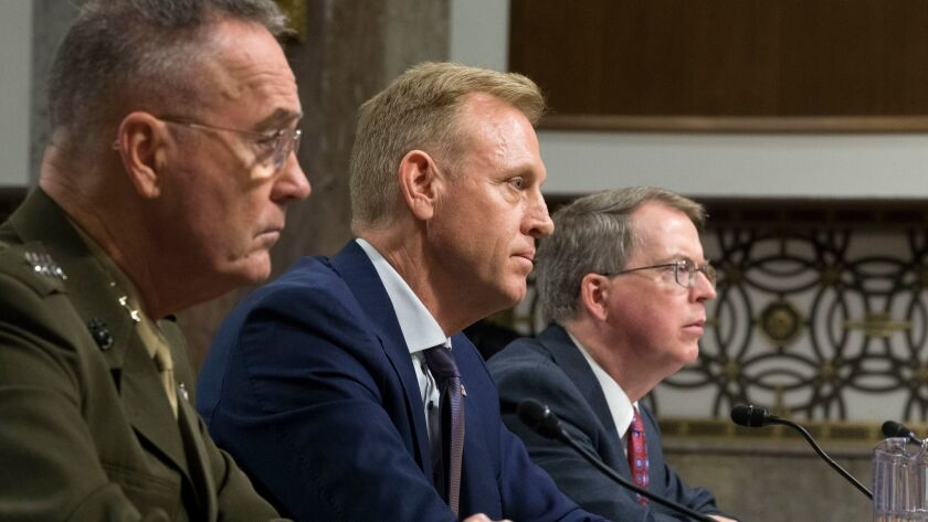 Senate Armed Services Committee hearing on Department of Defense Budget Posture, Washington, USA - 14 Mar 2019