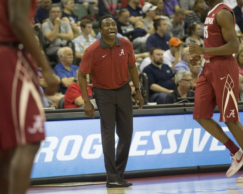 Alabama head coach Avery Johnson instructs his players during the first half of the Advocare Invitational college basketball game against Xavier, Thursday, Nov. 26, 2015, in Orlando, Fla. (AP Photo/Willie J. Allen Jr.)