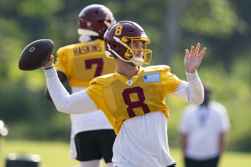 Washington quarterback Kyle Allen (8) prepares to throw in practice.