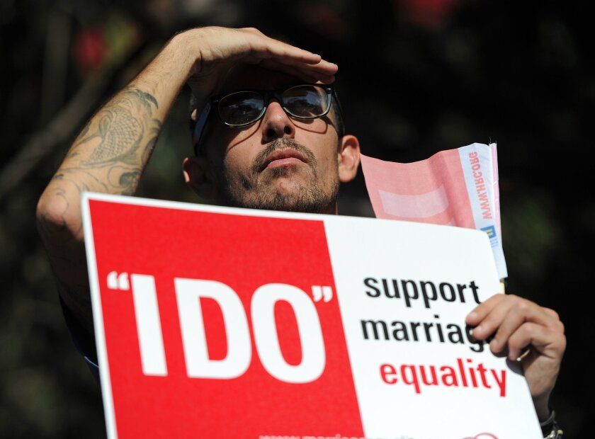 A same-sex marriage supporter attends a rally in West Hollywood.