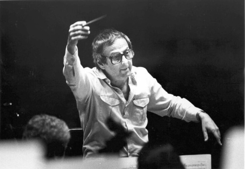 COMPLEX FIGURE: André Previn, a consummate musician whom Los Angeles helped shape, rehearses with the philharmonic in 1986, a year after he became music director.