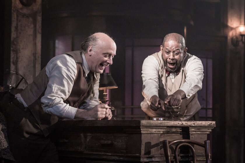 """This image released by Polk & Co. shows Frank Wood, left, and Forest Whitaker in a scene from """"Hughie."""" (Marc Brenner/Polk & Co. via AP)"""