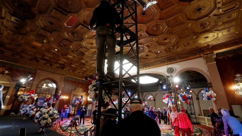 """A production crew prepares a set for the season finale of the Amazon Studios series """"Goliath"""" at the Biltmore Hotel in downtown Los Angeles on Dec. 21, 2017."""