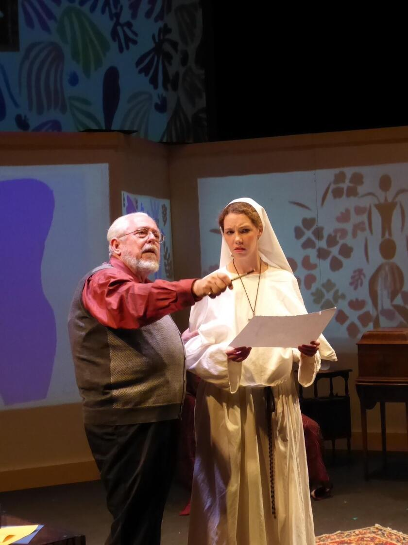 O.P. Hadlock as Matisse and Cecily Keppel as the young nun in 'The Color of Light'