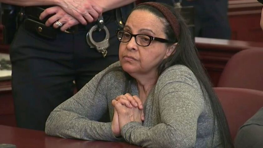 In this image from video, Yoselyn Ortega, who was a trusted nanny to a well-to-do family, listens to court proceedings Thursday, the first day of her trial in New York.