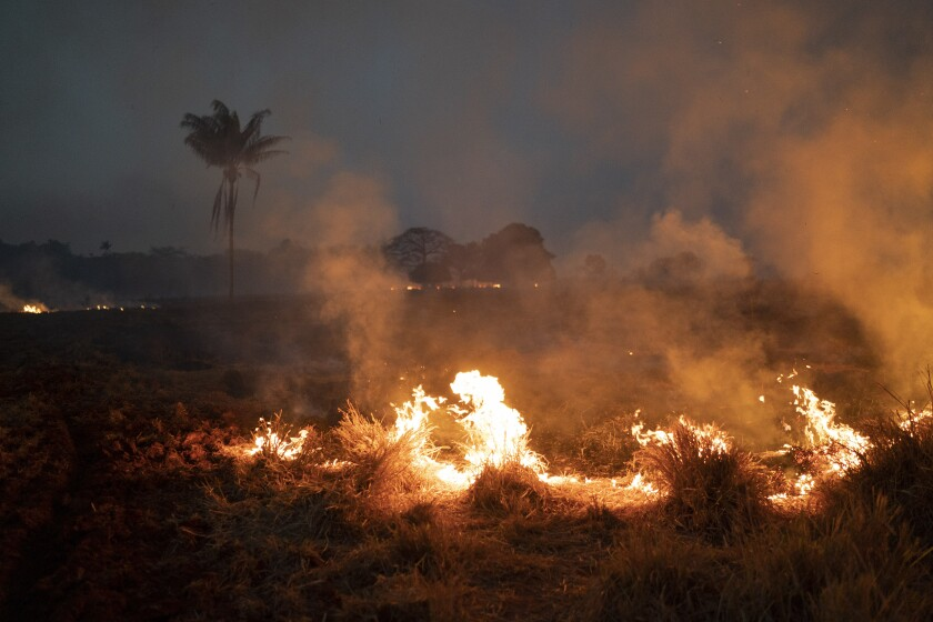 Fire burning on a farm in Brazil
