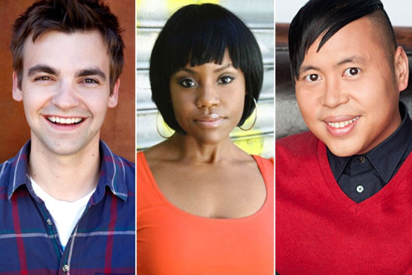 Drew Tarver, left, Haneefah Wood and Nico Santos won talent holding deals from CBS after the network's diversity comedy showcase