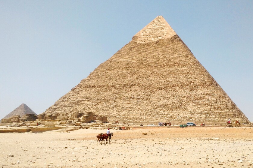 The Egyptian pyramids at Giza were nearly deserted when traveler Janet Moore arrived in August.