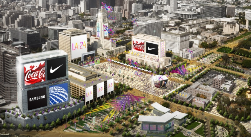 An artist's rendering shows downtown Los Angeles during the 2024 Summer Olympic Games.