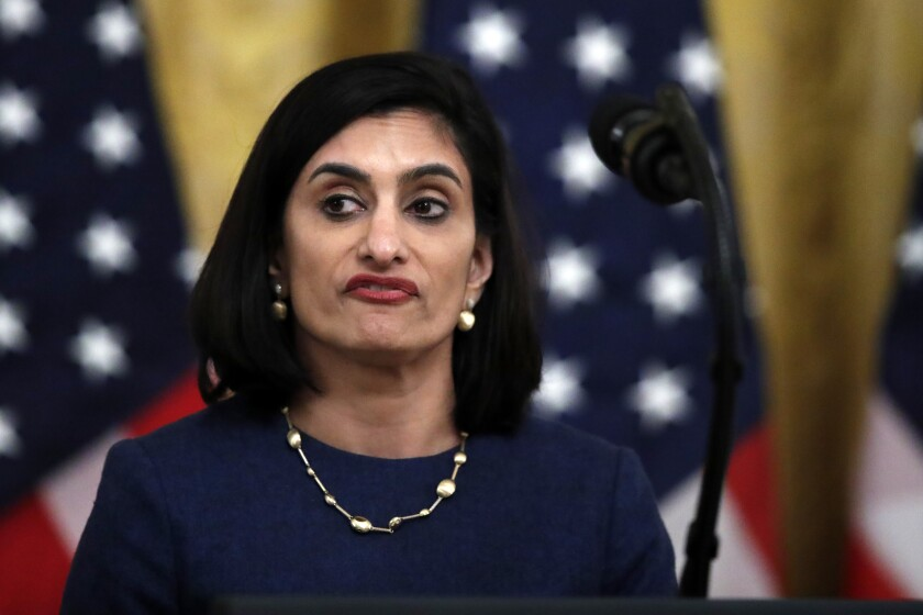 """FILE - In this April 30, 2020 file photo Administrator of the Centers for Medicare and Medicaid Services Seema Verma, speaks about protecting seniors, in the East Room of the White House in Washington. The head of the Medicare and Medicaid programs failed to properly manage more than $6 million in communications and outreach contracts, giving broad authority over federal employees to a Republican media strategist she worked with before joining the Trump administration, a government watchdog said in a report to be released Thursday. Seema Verma, administrator of the Centers for Medicare and Medicaid Services, and other agency leaders did not administer the contracts """"in accordance with federal requirements,"""" according to the inspector general at the Department of Health and Human Services. CMS is part of the department. (AP Photo/Alex Brandon)"""