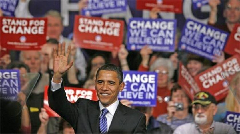 Let's remember that, in 2008, Democrats worried whether Obama, shown here campaigning in Iowa that year, could possibly win in a general election.
