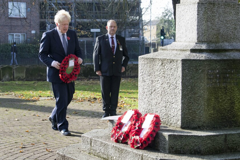 British Prime Minister Boris Johnson visits Uxbridge War Memorial in London on Saturday ahead of Remembrance Sunday.