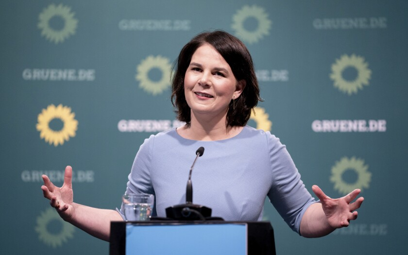 Annalena Baerbock, the German Green Party's candidate for chancellor, addresses the media during a press conference in Berlin, Germany, Monday, May 17, 2021. (Kay Nietfeld/dpa via AP)