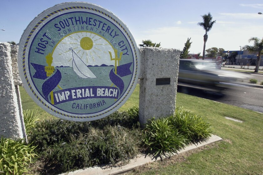 A sign announces Imperial Beach's geographic claim to fame.