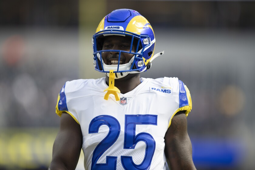 Rams running back Sony Michel smiles during pregame warmups before Week 1 matchup against the Chicago Bears