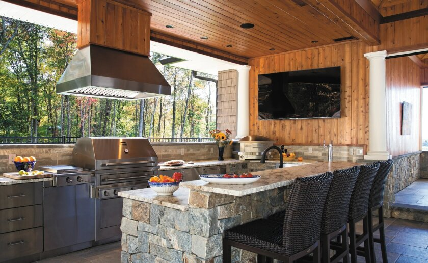 Adding commercial-grade appliances is the hottest trend in building or remodeling a home's outdoor kitchen.