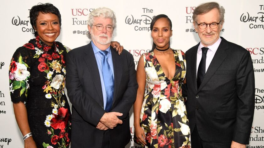 "Honorees Mellody Hobson, left, and George Lucas, ""Scandal"" star Kerry Washington and USC Shoah Foundation founder and filmmaker Steven Spielberg attend Ambassadors for Humanity Gala benefiting the USC Shoah Foundation at the Ray Dolby Ballroom in Hollywood on Dec. 8."