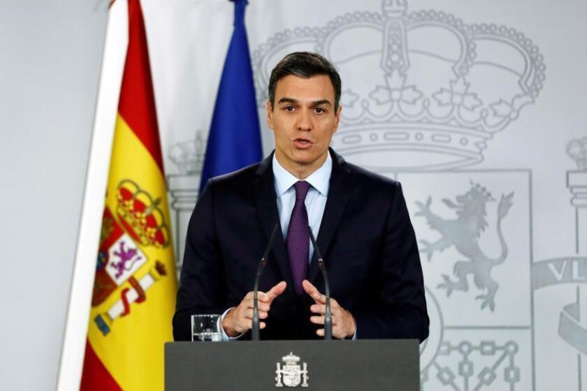 Spanish Prime Minister Pedro Sanchez speaks during a press conference at La Moncloa Palace, in Madrid, Spain, Feb. 4, 2019. EPA-EFE/SEBASTIAN MARISCAL