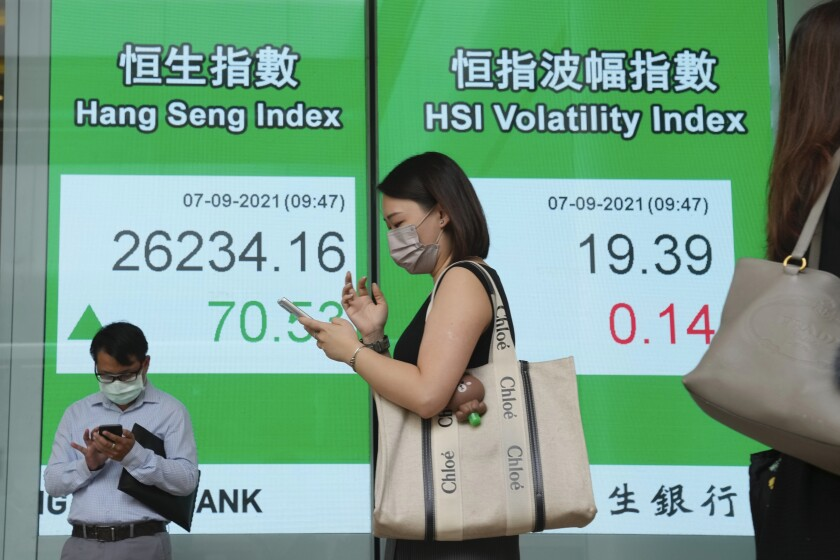 People wearing face masks walk past a bank's electronic board showing the Hong Kong share index in Hong Kong, Tuesday, Sept. 7, 2021. Asian stock markets rose Tuesday as investors watched for decisions from Europe and other central banks about when they might start to wind down economic stimulus. (AP Photo/Kin Cheung)