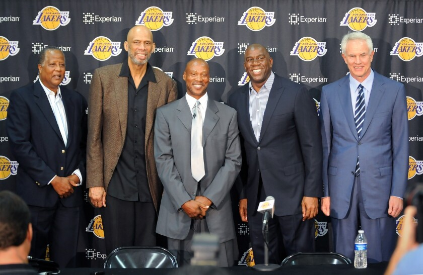 Jamaal Wilkes, Kareem Abdul-Jabbar, Byron Scott, Magic Johnson, Mitch Kupchak