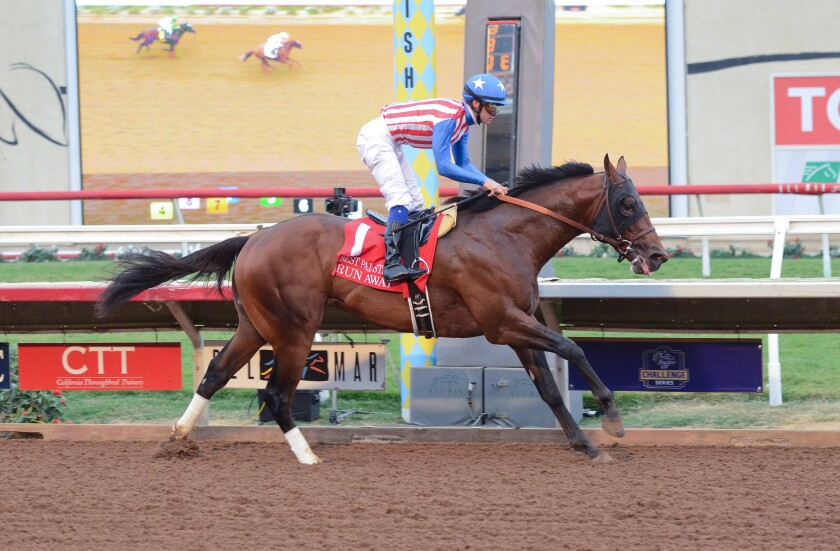 Run Away races to first place Aug. 12 at the Grade II, $200,000 Best Pal Stakes.