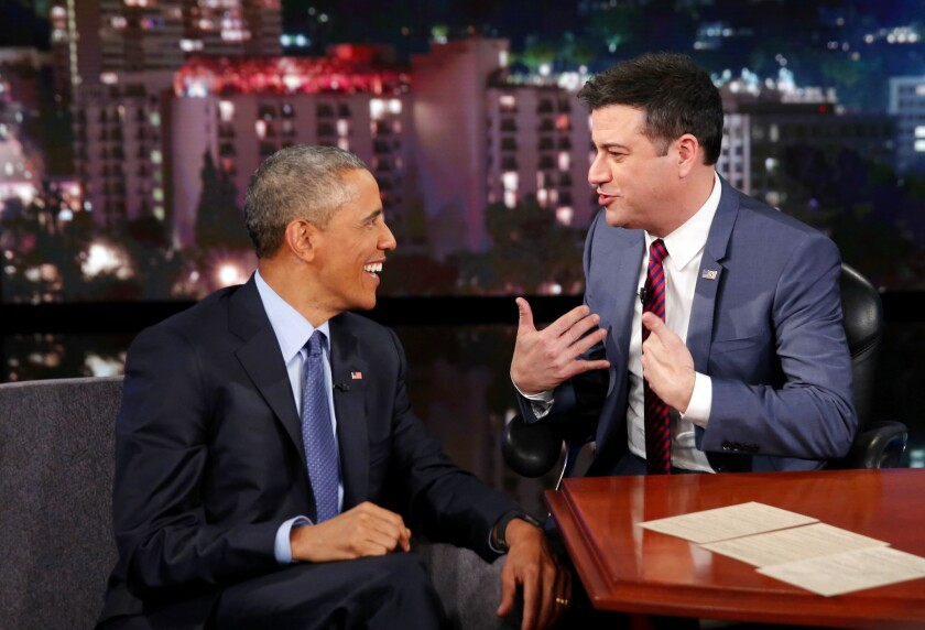 President Obama talks with Jimmy Kimmel during a commercial break at ABC Studios.