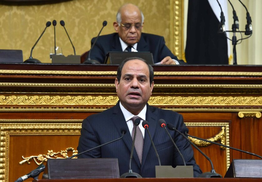President Abdel Fattah Sisi speaks to the Egyptian parliament this month