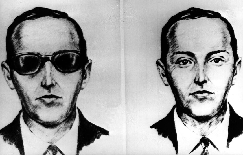 Two sketches show D.B. Cooper, a white man with short hair wearing a suit and tie; in one, he has on sunglasses.