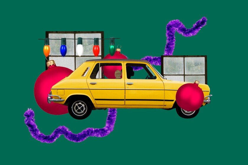 An illustration of a car, against a backdrop of holiday lights, ornaments and garland.